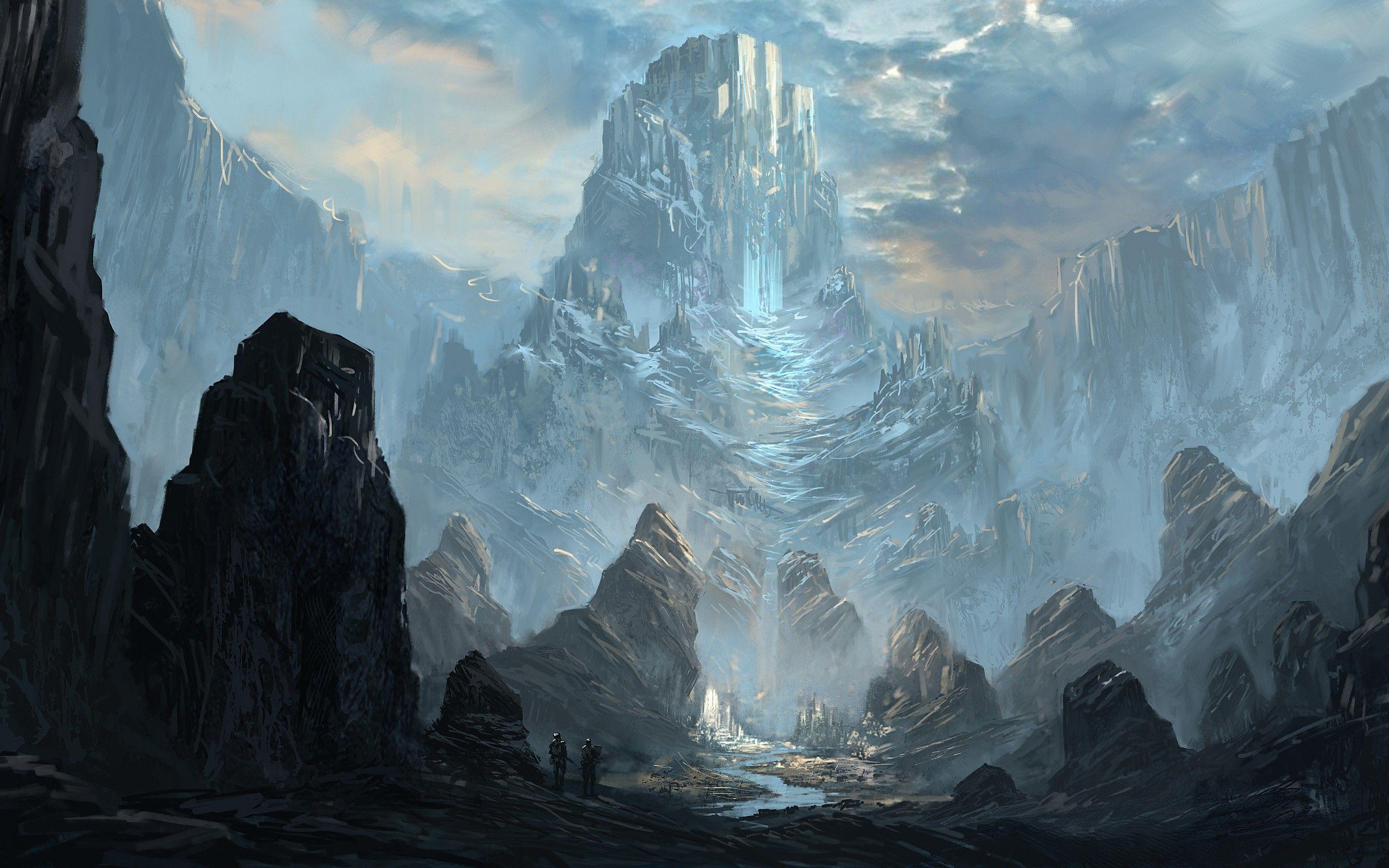 mountains castles artwork drawings rivers - Wallpaper (#1852566 ...