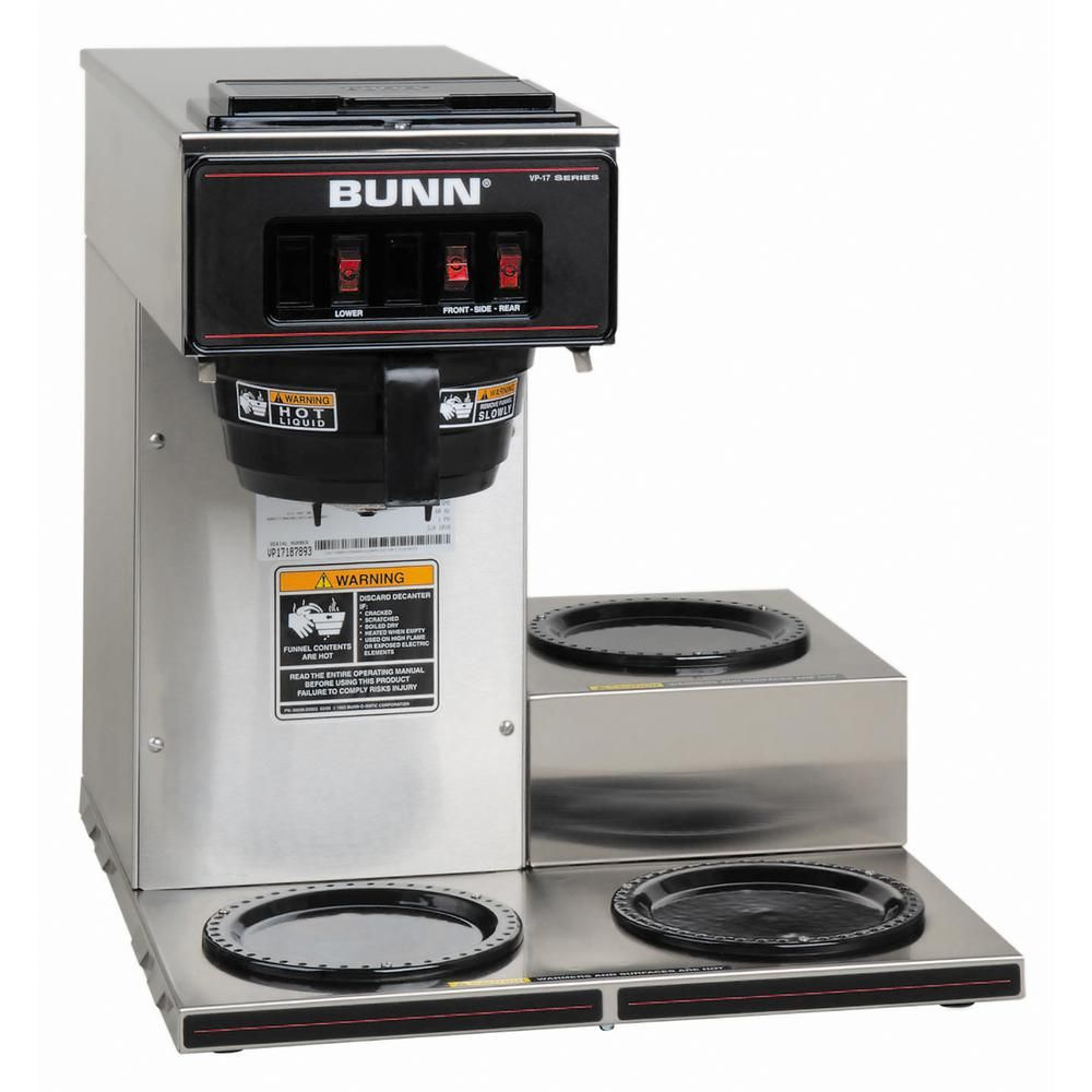 Bunn Vp17 3 3l 12 Cup Commercial Coffee Maker 3 Lower Warmers