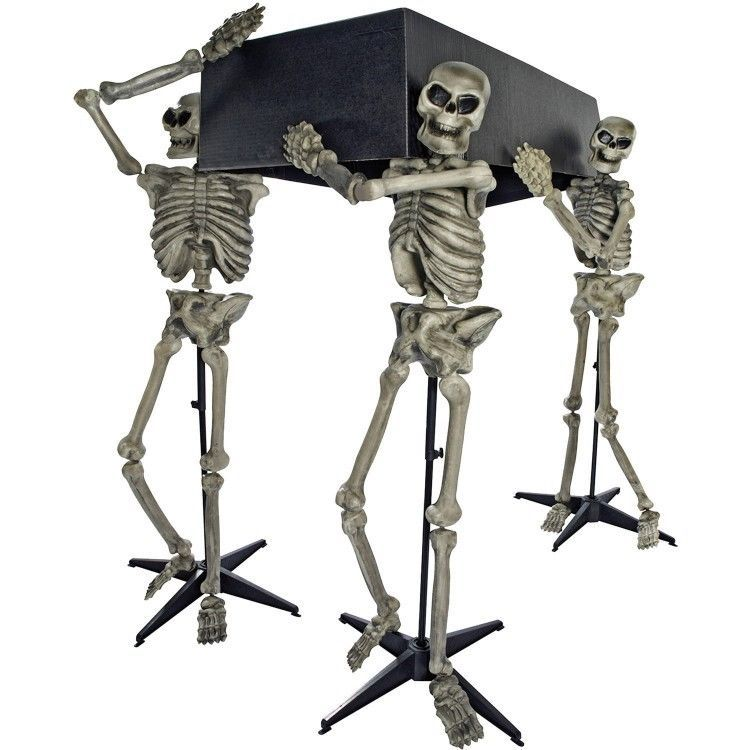 Scary Halloween Decoration Indoor Props Skeletons Coffin Stands