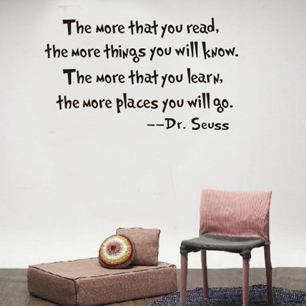 DR SEUSS THE MORE THAT YOU READ YOU KNOW Wall Sticker Home Office Decal Fashion