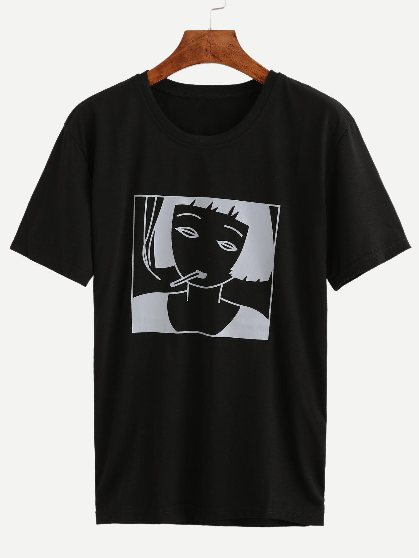 694ae8b77 Shop Black Girl Print T-shirt online. SheIn offers Black Girl Print T-shirt  & more to fit your fashionable needs.