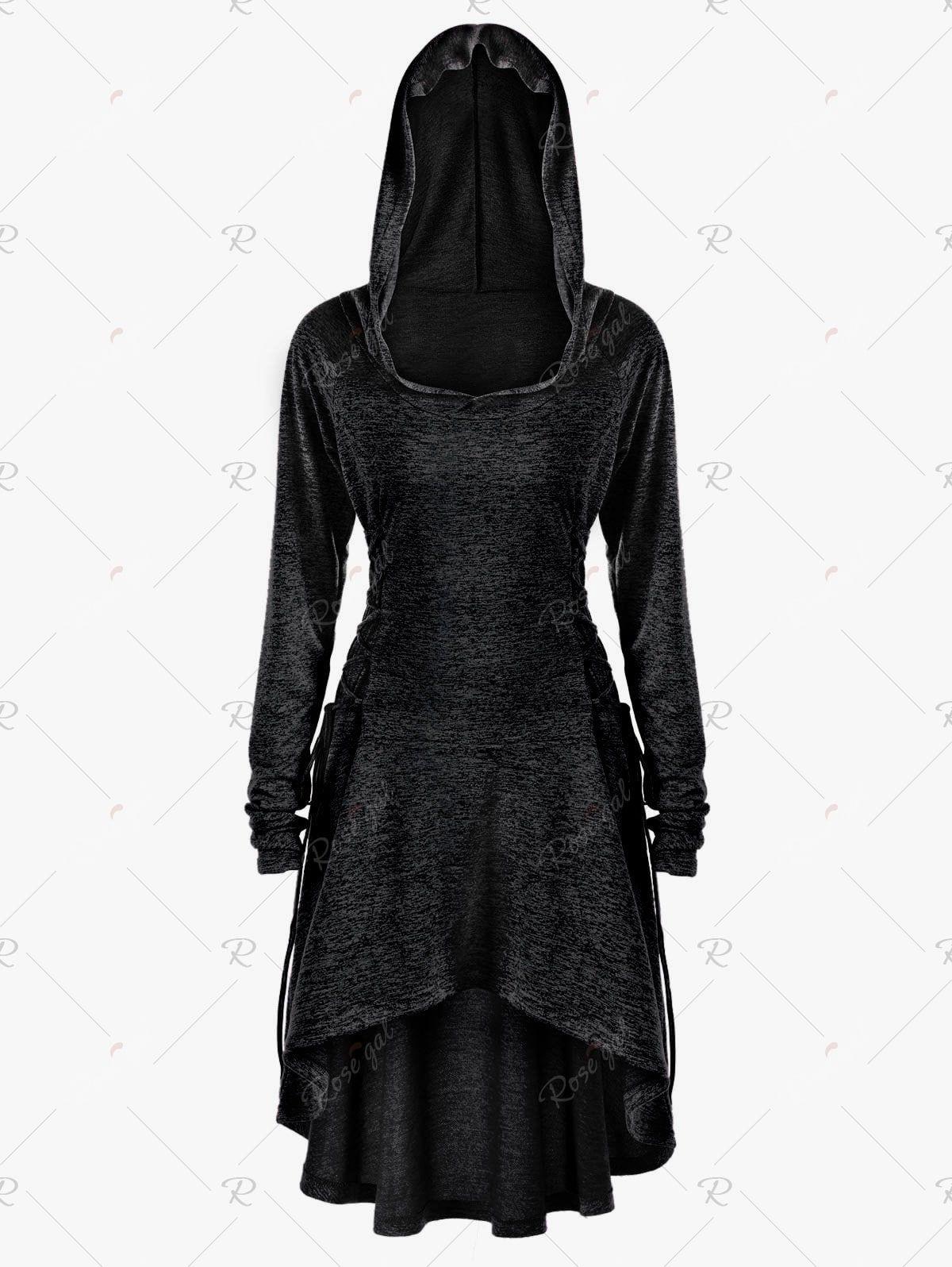 6401797f339 Halloween Plus Size Lace Up Marled Dip Hem Hoodie
