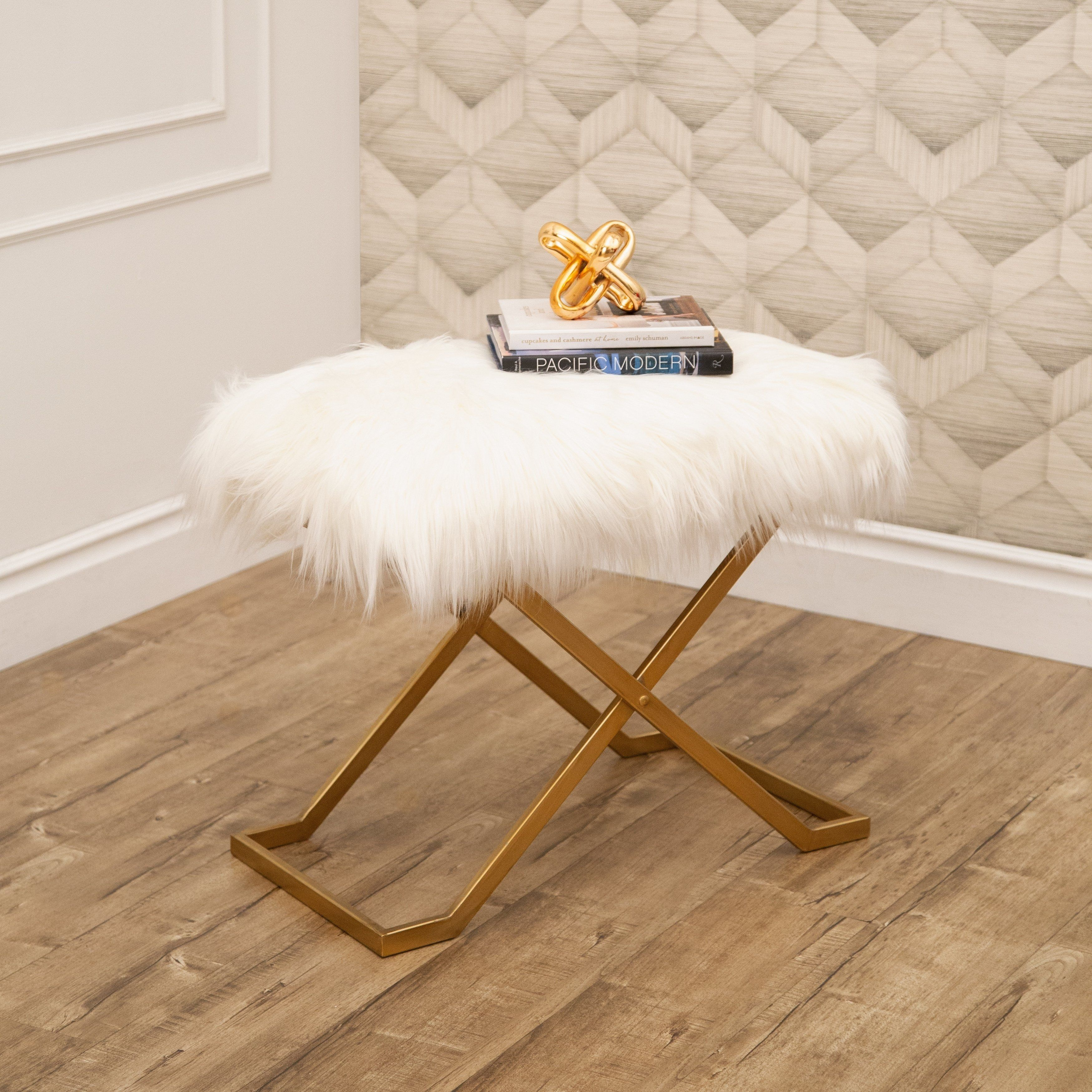 Miraculous Abbyson Jacquie Gold Faux Fur Bench As Is Item Products Uwap Interior Chair Design Uwaporg