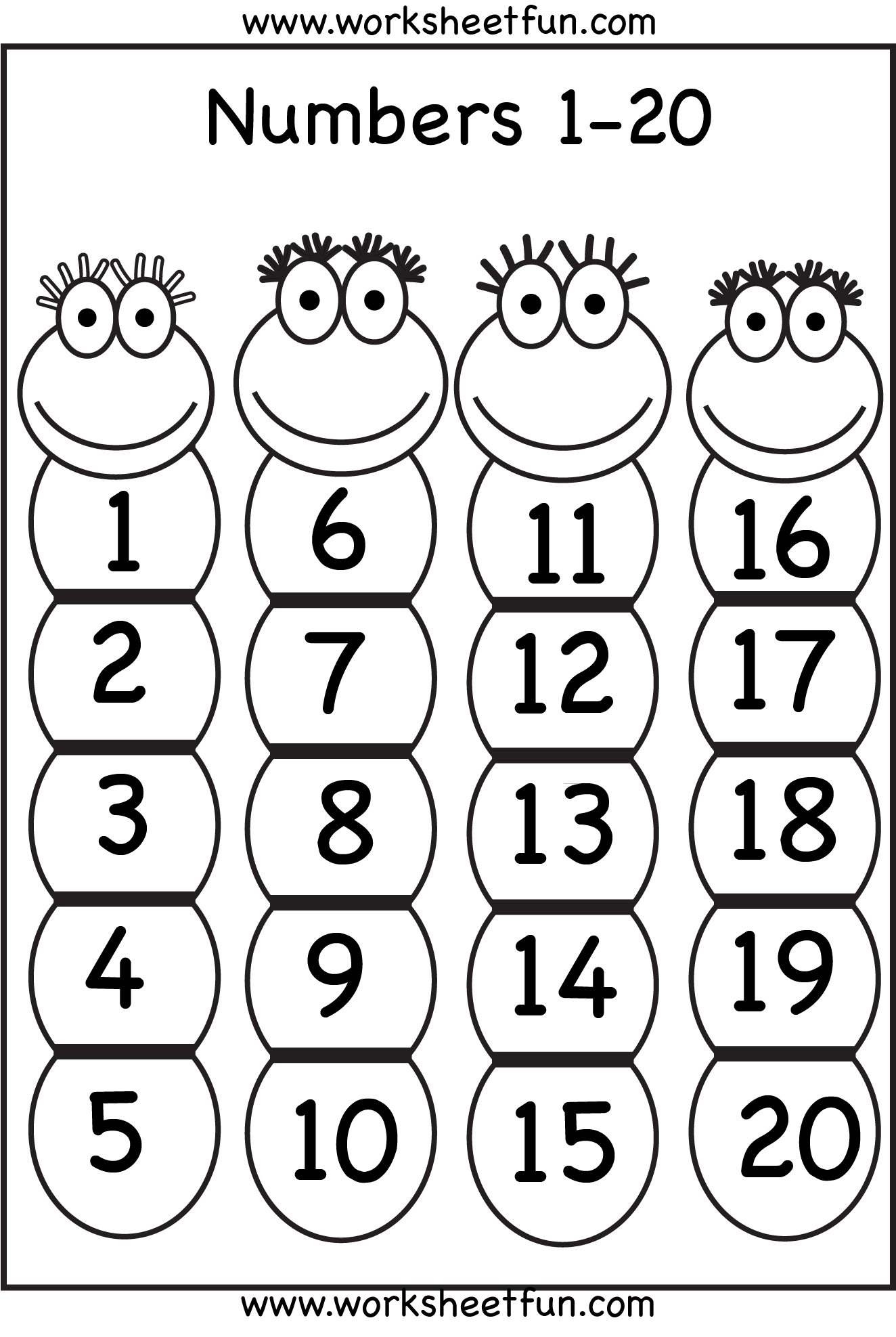 Numbers 1-20 | Printable Worksheets | Pinterest | Number chart, Math ...