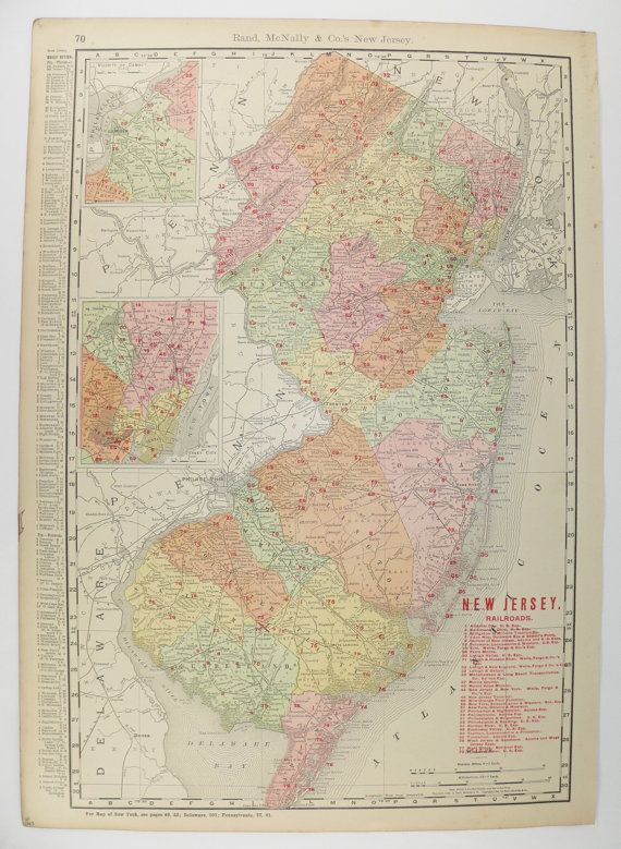 New Jersey Map Vintage Map Of New Jersey East Coast State - East coast state map
