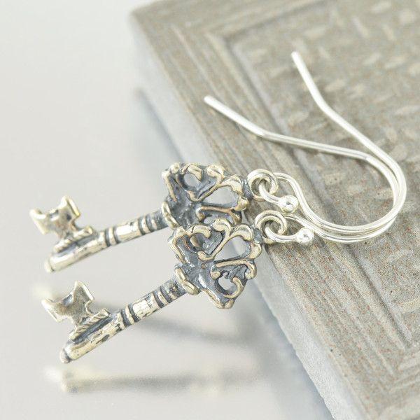 Sterling Silver Key dangle earrings