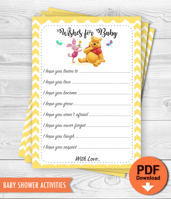 Printable Baby Advice Winnie The Pooh Baby Shower Activity Instant Download Baby Shower Wishes Wishes For Baby Baby Bear Baby Shower