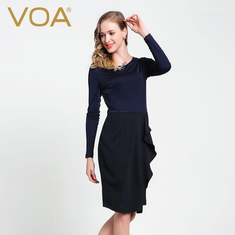 VOA Navy Blue Silk Dress 2017 High-End Special Design European and American  Long Sleeve knit Slim Dresses Summer new 8e1445c4dc07