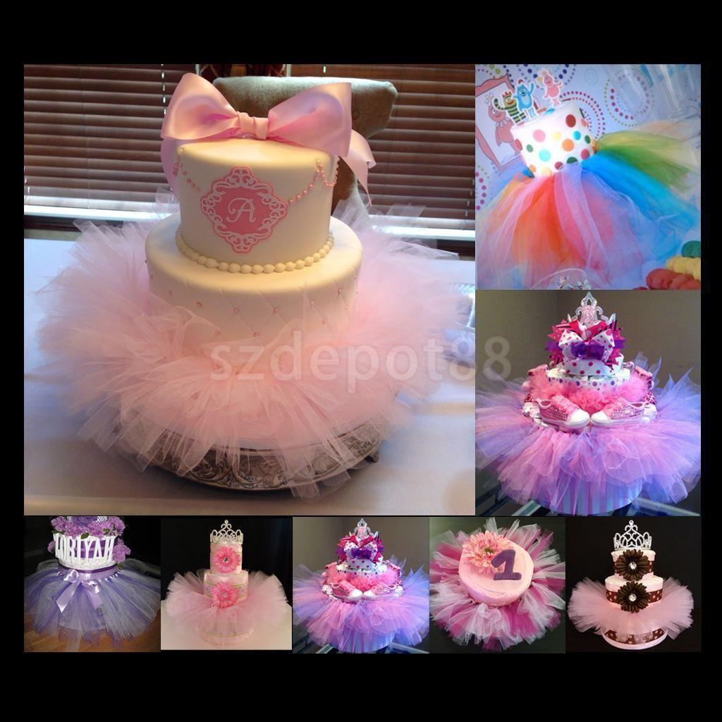 Wedding decorations using tulle  Tulle Tutu Cake Skirt Wedding Chair Christmas Party Wedding Birthday