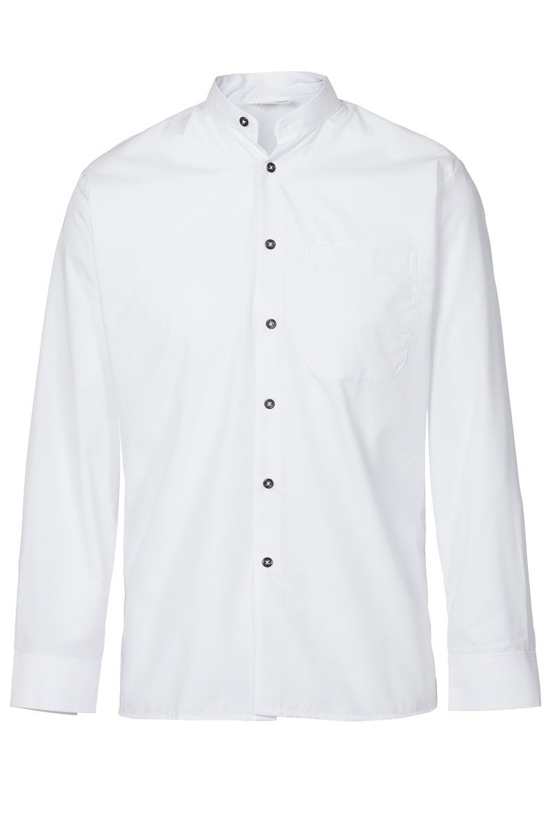 53fb329cff8a Camisa de hombre cuello mao contraste botón negro de poliéster. Con ...