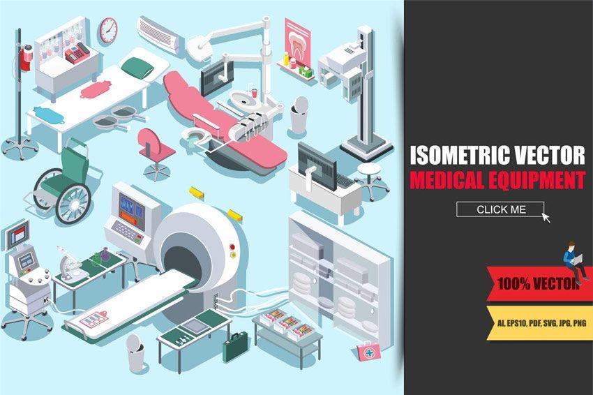 Medical Equipment Isometric Flat Medical Equipment Storage Medical Equipment Isometric