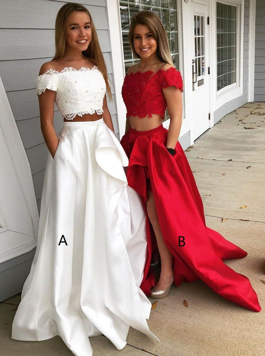 635838e4d1 Two Piece Off-Two Piece Off-the-Shoulder White Split Satin Prom Dress with  Pockets