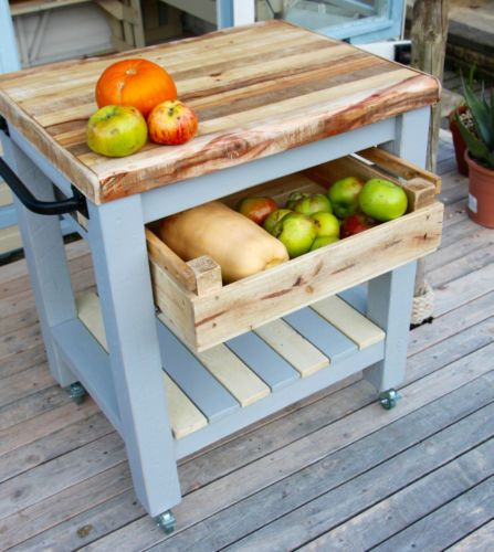 Rustic-Farmhouse-Style-Butchers-Block-Kitchen-Trolley-made-from-reclaimed-wood diy Pinterest ...