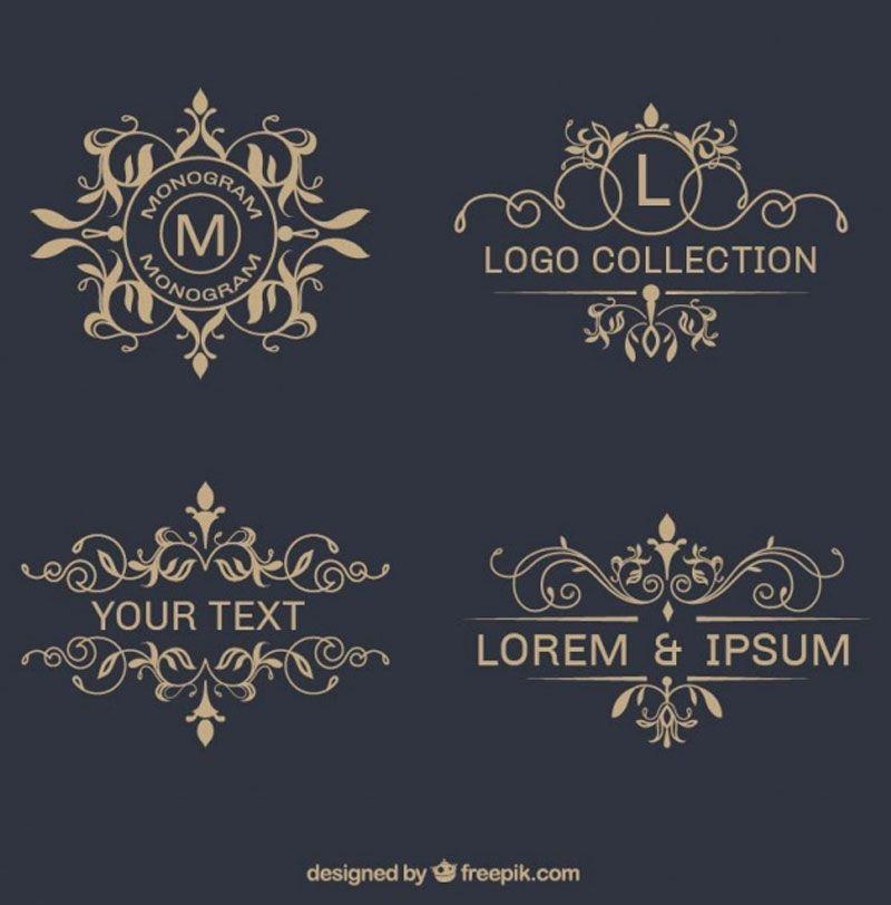 Pack Of Elegant Ornamental Logos Free Vector