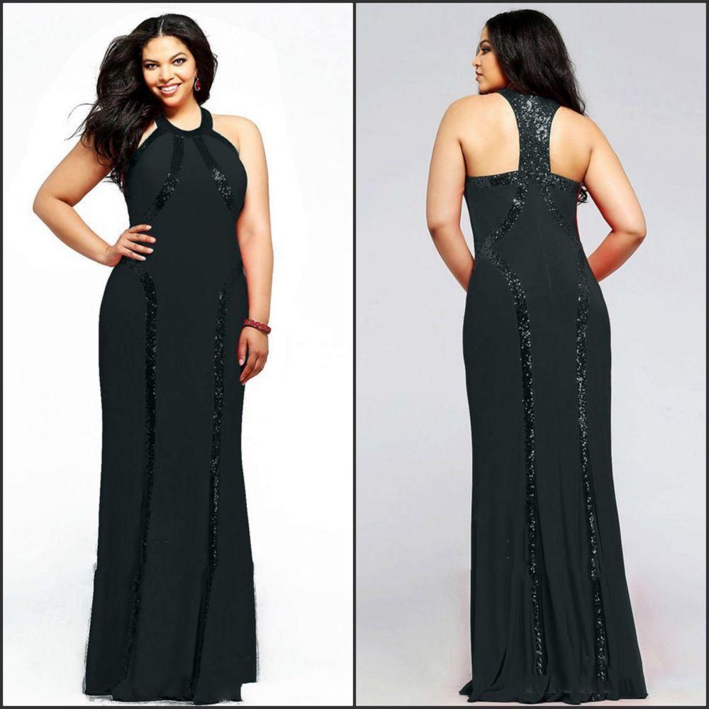 Elegant classy womenus formal wedding party maxi long black sequin