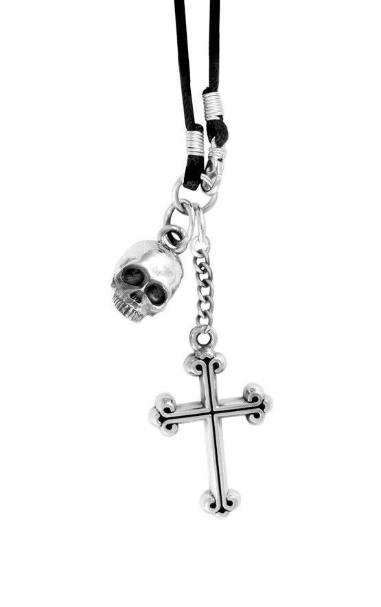Hamlet Skull and Cross Pendant on Braided Cord