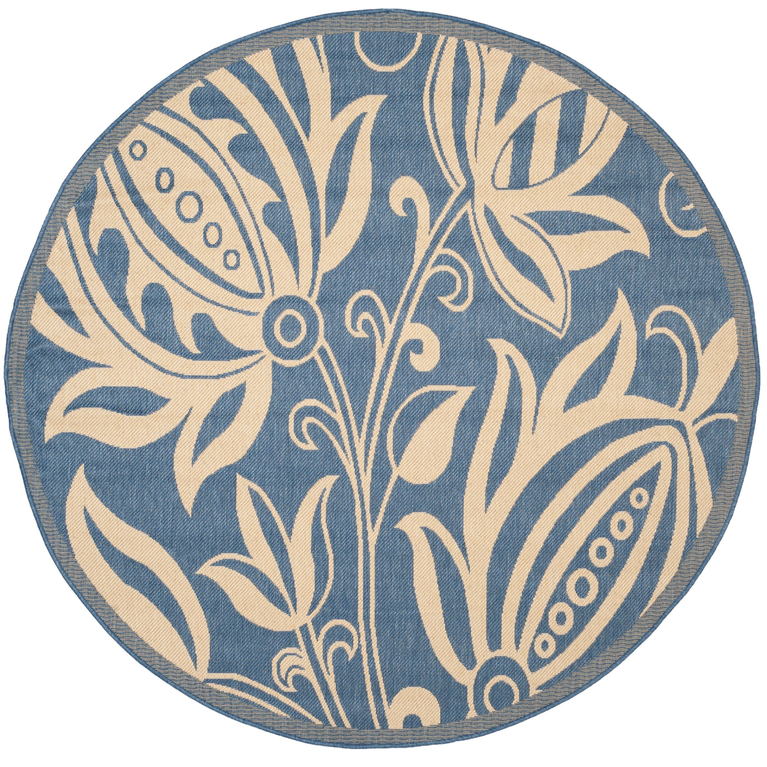 Safavieh Andros Blue Natural Indoor Outdoor Rug 5 3 Round