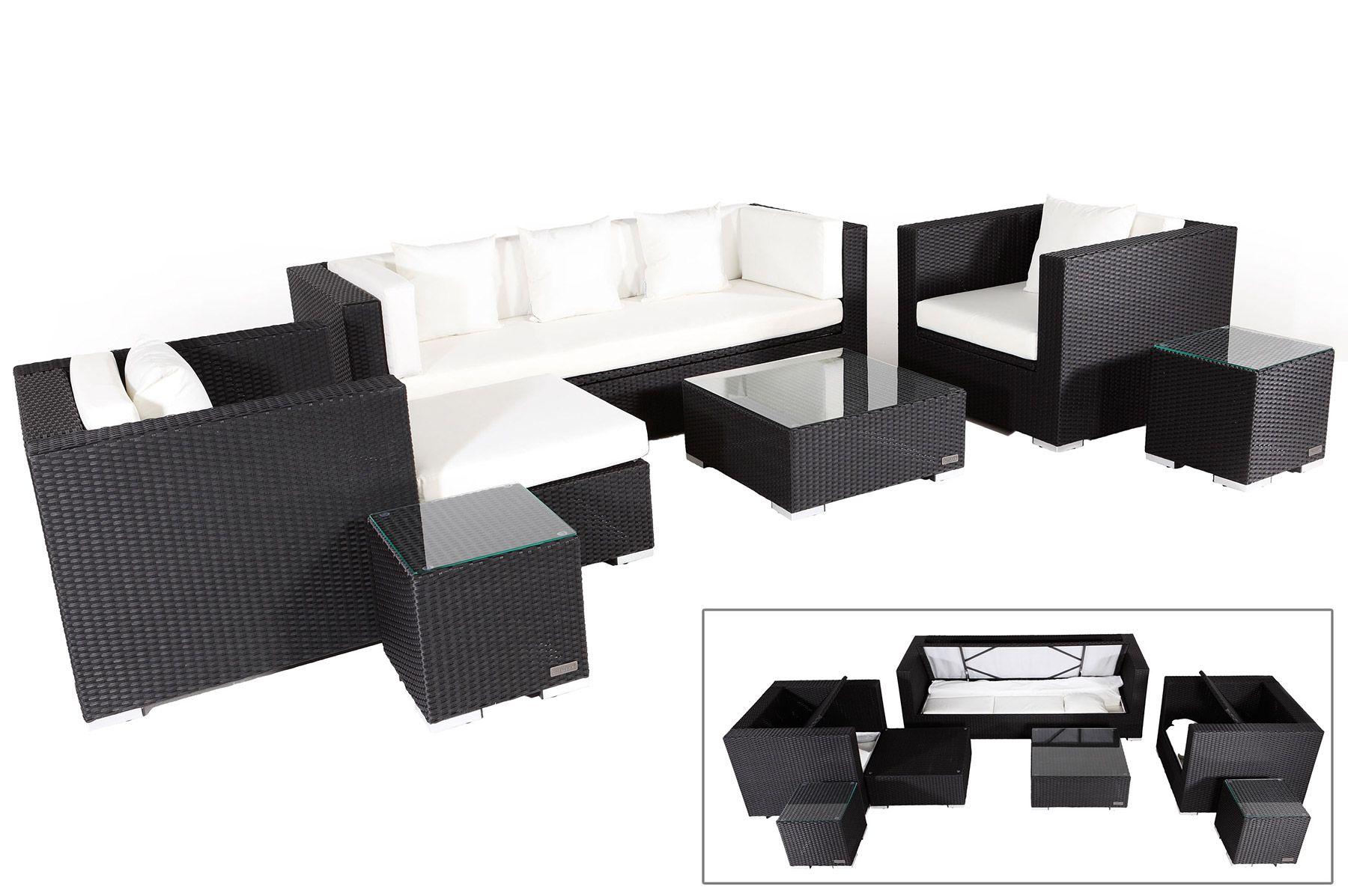 OUTFLEXX Rattanmöbel Sitzgruppe aus Polyrattan mit Kissenboxfunktion ...
