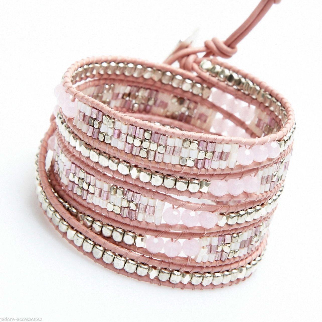 Wrap Bracelet Tresse Nakamol 5 Tours Rose Dore | eBay