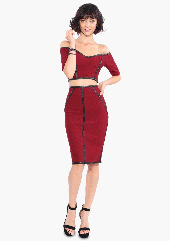 Genevieve midi skirt in burgundy necessary clothing