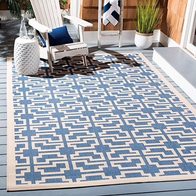 Amazon Com Safavieh Courtyard Collection Cy6015 243 Blue And Beige Indoor Outdoor Area Rug 5 3 X In 2020 Indoor Outdoor Rugs Indoor Outdoor Area Rugs Outdoor Rugs