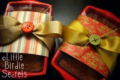 Pumpkin Bread - Mini loaf pans are $1 at craft store, wrap with scrapbook paper, ribbon, and a button and you've got a great gift for under $5.