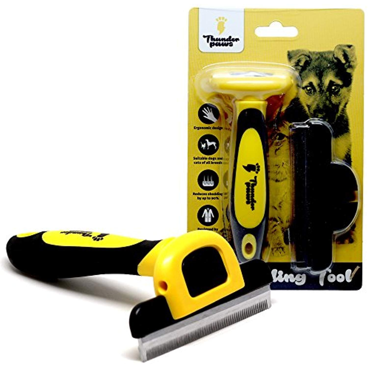 Thunderpaws Best Professional De Shedding Tool And Pet Grooming Brush D Shedz For Breeds Of Dogs Cats With Short Pet Grooming Cat Grooming Tools Cat Grooming