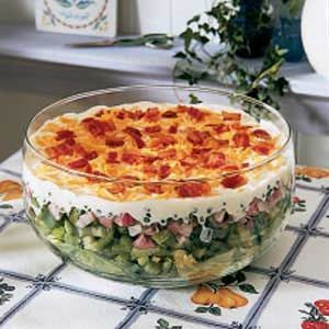 12 Hour Salad Recipe Taste Of Home Recipes This Recipe Was Mom S Scrumptious Scheme To Get Her Kids To Eat Vegetab Fresh Fruit Recipes Layered Salad Recipes