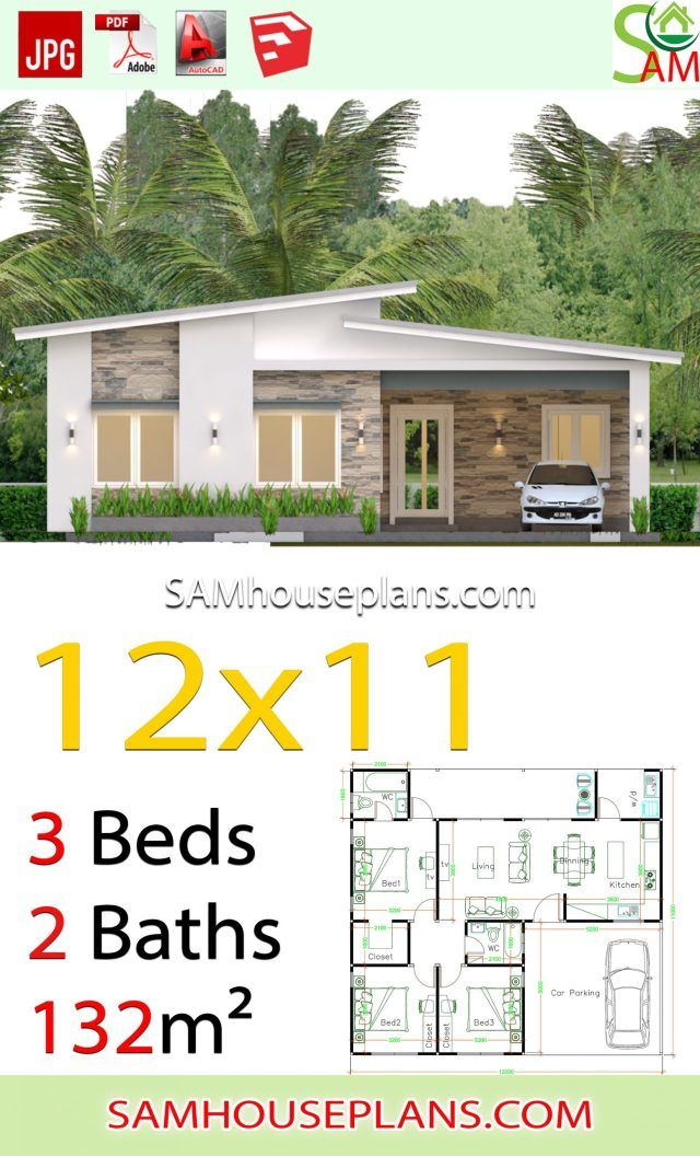 House Plans 12x11 With 3 Bedrooms Shed Roof Sam House Plans Farmhouse Style House Plans Small House Design Plans Architectural House Plans
