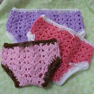FREE Diaper Cover Crochet Patterns #dollunderware