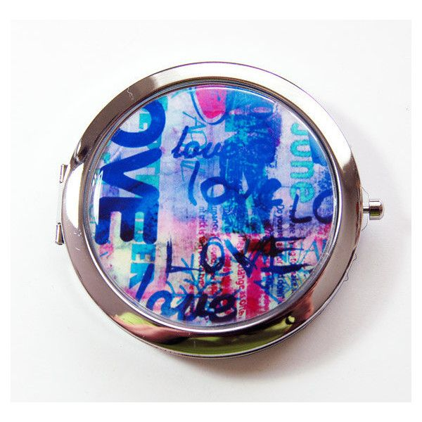 Graffiti Compact Mirror Graffiti Love Mirror Purse Mirror Compact... ($16) ❤ liked on Polyvore featuring beauty products, beauty accessories, bath & beauty, hand & pocket mirrors, light purple, makeup & cosmetics and makeup tools & brushes