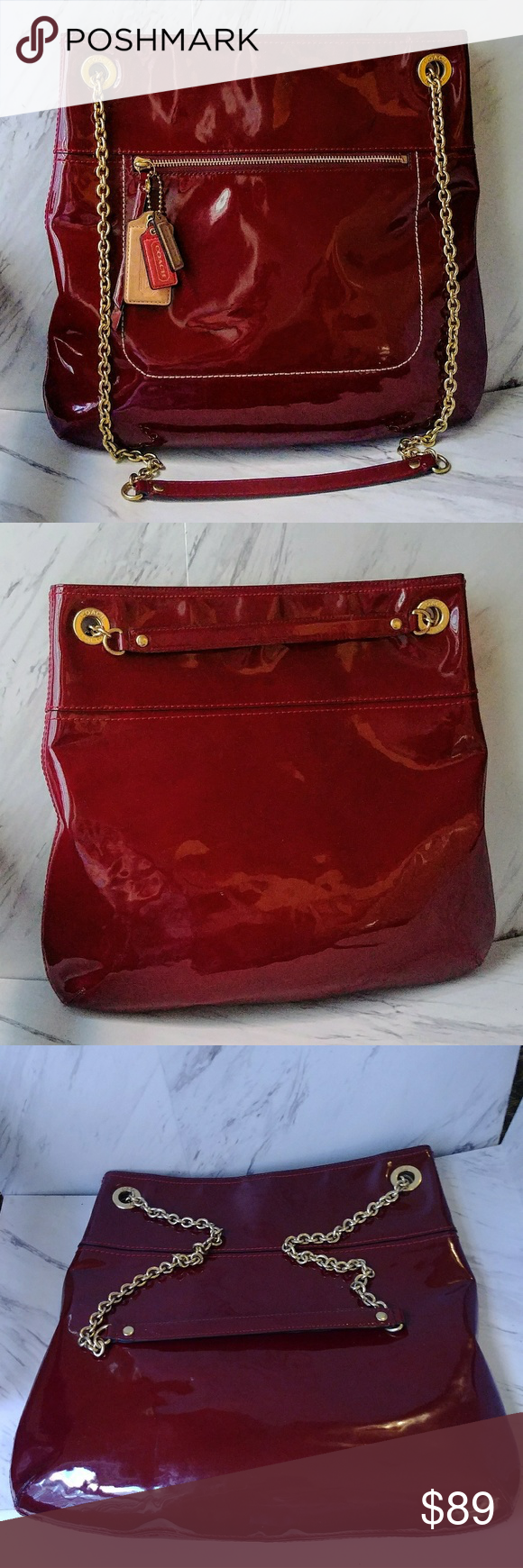 Coach Crimson Patent Leather Handbag