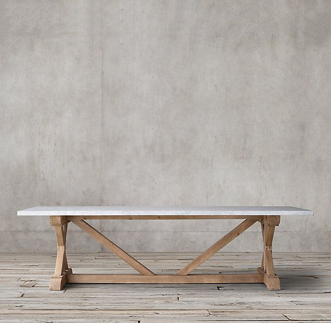 Rh 39 S Salvaged Wood Amp Marble X Base Rectangular Dining Table Our Table From Designer Timothy Oul Dining Table Marble Dining Table Wood Dining Room Table