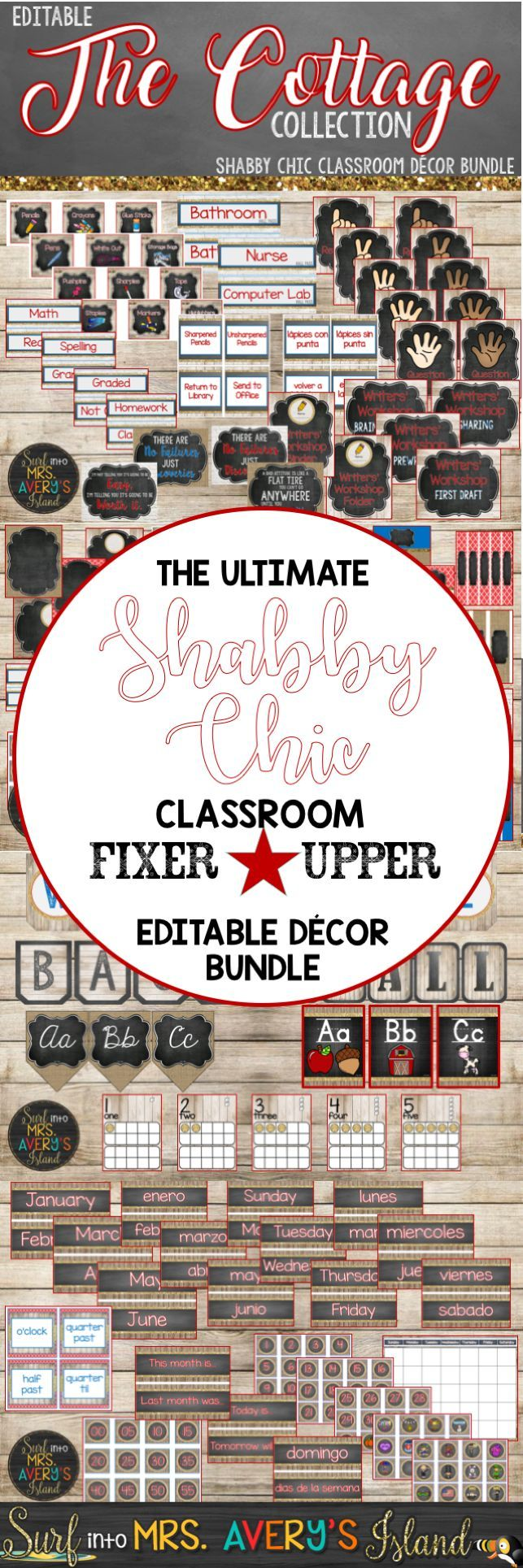 Are you tired of having a hodge podge of classroom decor?  Click here to discover a shabby chic classroom decor bundle FULL of back to school classroom organization and classroom management printables!