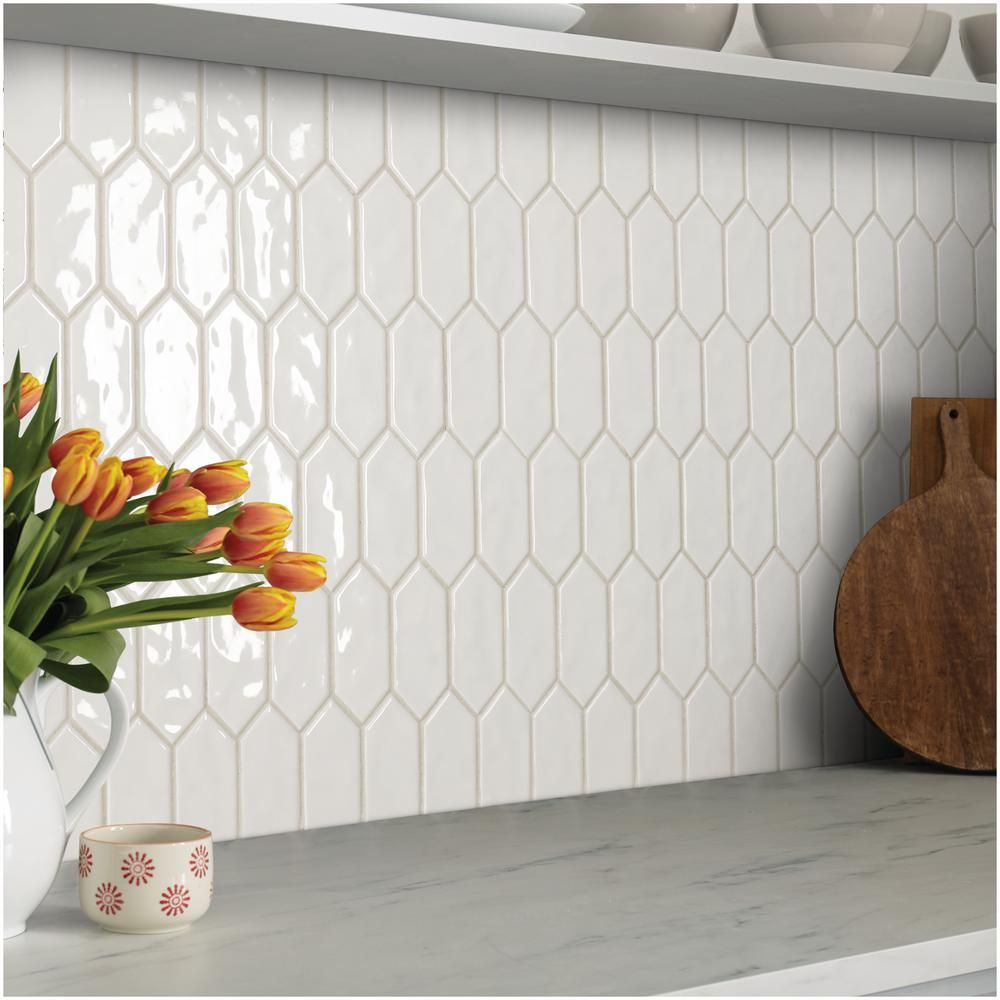 Marazzi LuxeCraft 11 in. x 12 in. x 6.35mm White Ceramic Picket Mosaic Wall Tile (0.73 sq. ft. / piece)-LC1525PICKHD1P2