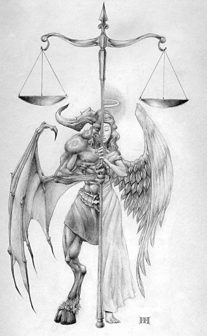 резултат с изображение за female judge half angel half devil art drawing