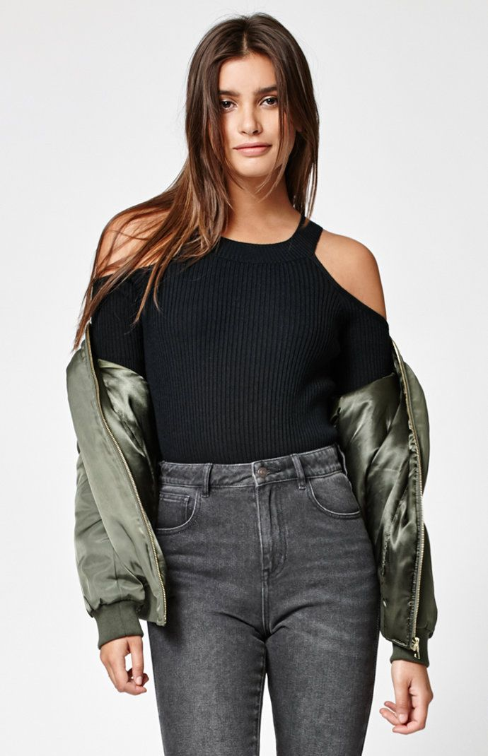 44865020e0410 Kendall and Kylie Fitted Cold Shoulder Sweater at PacSun.com ...