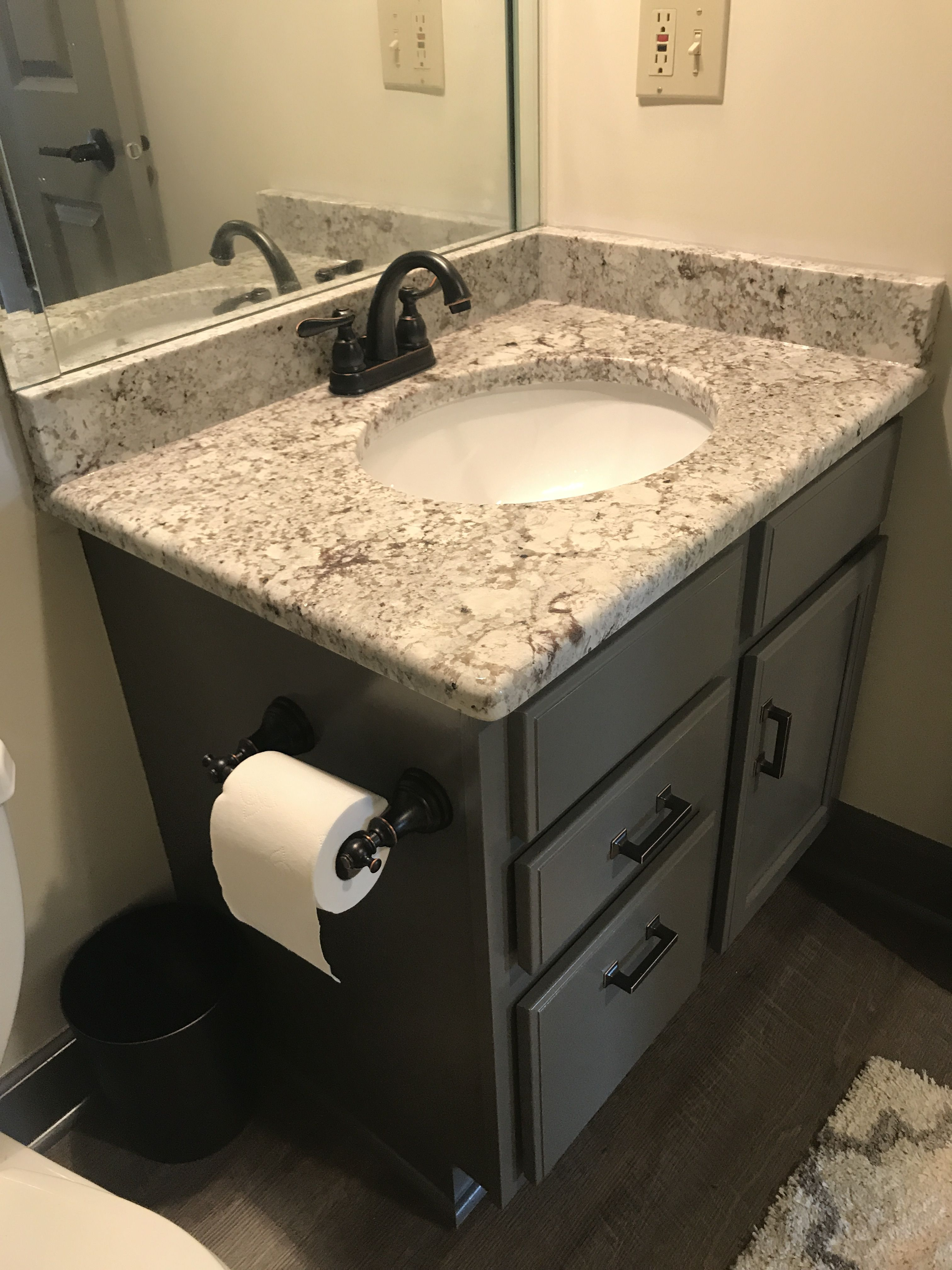 Bathroom Vanity Refinished In Sherwin Williams Gauntlet Gray Gauntlet Gray Sherwin Williams Gauntlet Gray Grey Bathroom Vanity