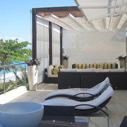 Superbe Paraiso Tropical, Horizontal Roman Shade, Outdoor Curtains, Shady Patio  Design