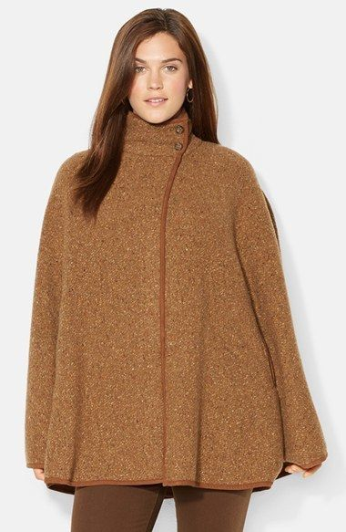 61c62d1eba0 Lauren Ralph Lauren Suede Trim Wool Blend Cape (Plus Size)