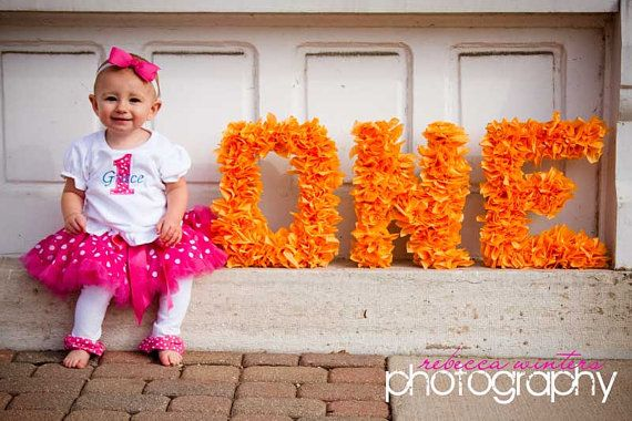 Bright ORANGE ONE Letter photo prop by tutujunkies on Etsy, $54.00