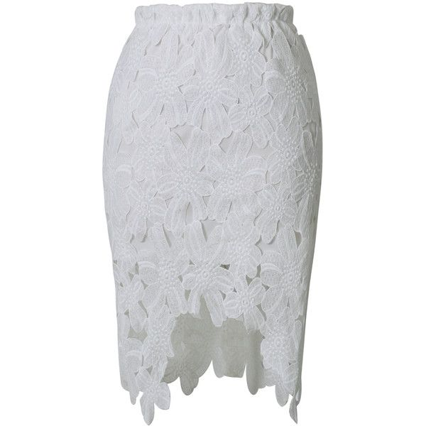 Chicwish Hi-Lo Hem Flower Cut Out Pencil Skirt in White ($31) ❤ liked on Polyvore featuring skirts, chicwish, white hi low skirt, elastic waist skirt, hi low skirt, chicwish skirt and white knee length skirt