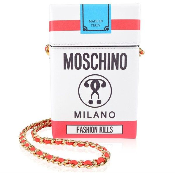 MOSCHINO Fashion Kills Box Bag (12,015 MXN) ❤ liked on Polyvore featuring bags, handbags, shoulder bags, moschino handbags, chain-strap handbags, chain shoulder bag, white shoulder bag and white purse