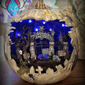 picture of spooky graveyard diorama pumpkin - Halloween Diorama Ideas