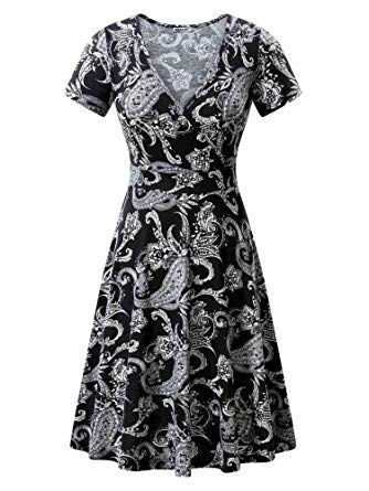e6687482e8a8 MSBASIC Women's Deep V Neck Short Sleeve Unique Cross Wrap Casual Flared  Midi Dress at Amazon Women's Clothing store: