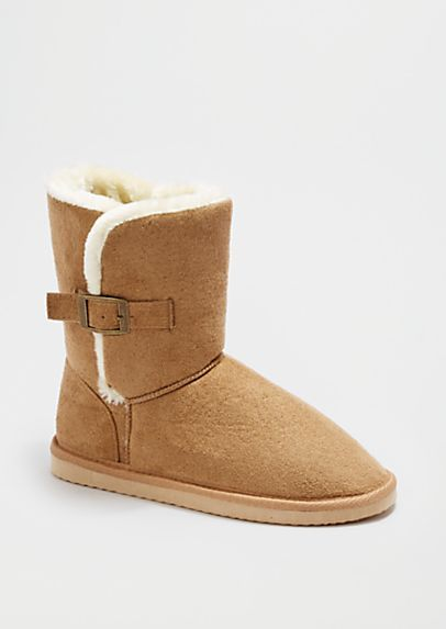 image of Sand Buckled Faux Fur Solemate