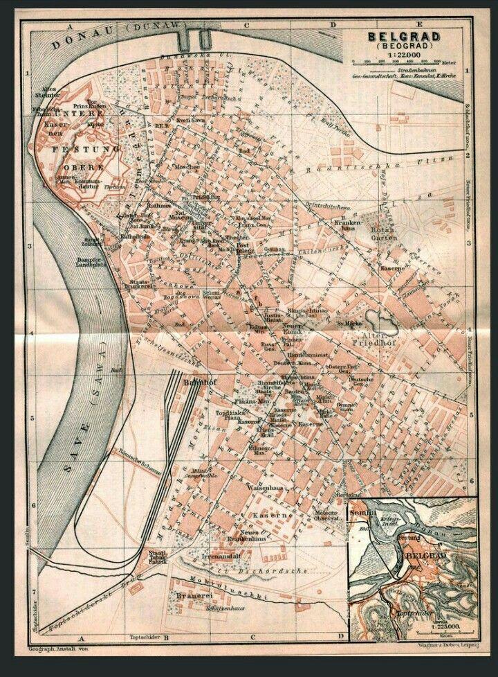 Old Map Of Belgrade 1905