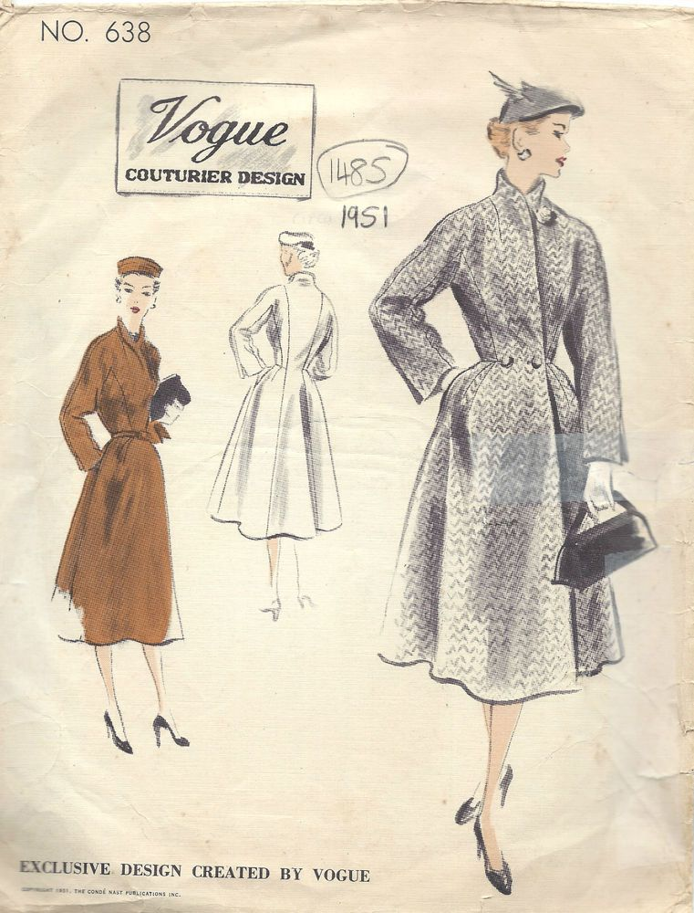 1951 Vintage VOGUE Sewing Pattern B38 COAT (1485) | Vintage fashion ...