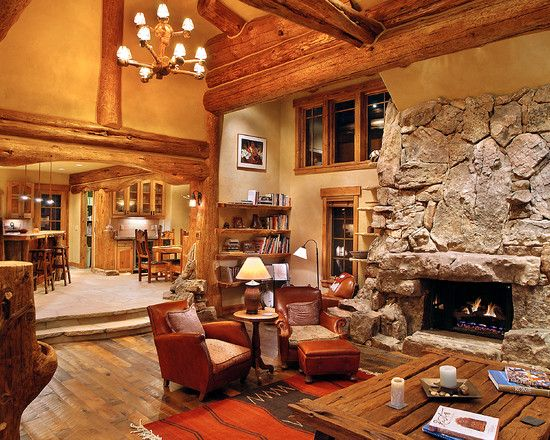 Cabin Design, Pictures, Remodel, Decor and Ideas - page 51 | Family on open living dining space, luxurious open house designs, open space home designs, open floor plan house designs, space room designs, open kitchen living dining room designs,