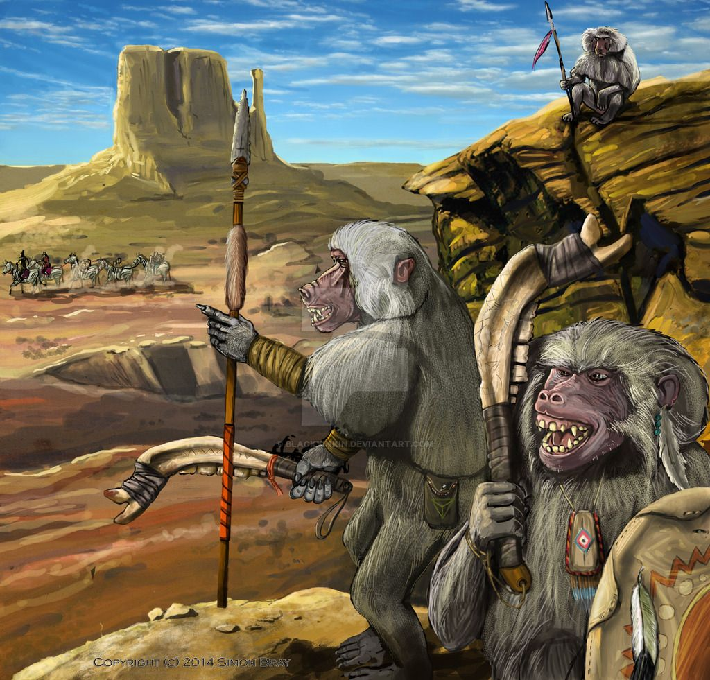 Glorantha Baboon Hunting Party By Blackyinkin Deviantart Com On Deviantart Fantasy Art Fantasy Creatures Baboon